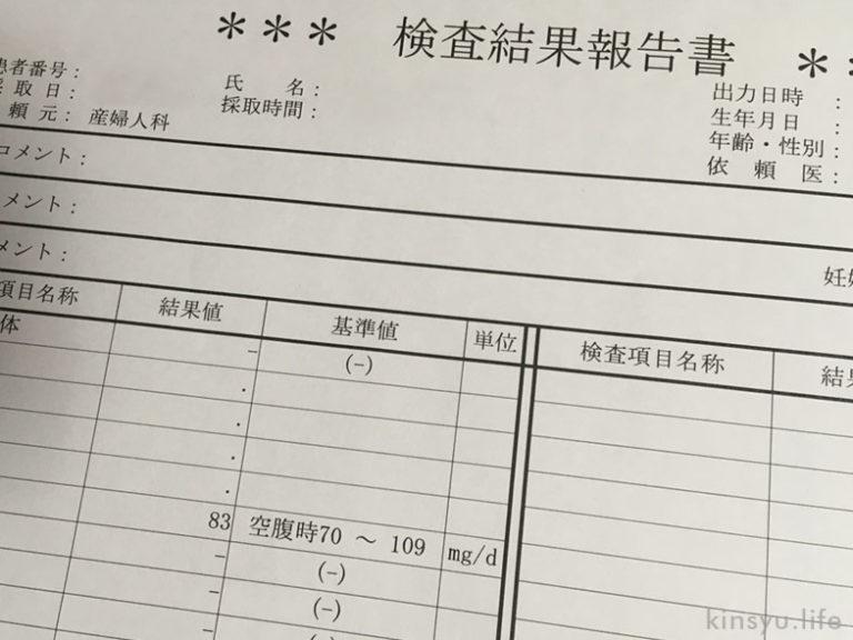 血液検査結果表